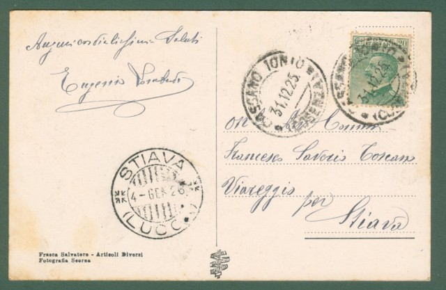 Calabria. CASSANO IONIO, Cosenza. Veduta del Duomo e Corso Garibaldi. Cartolina d'epoca viaggiata nel 1955
