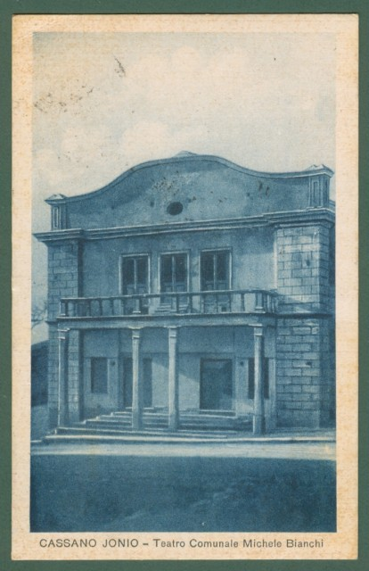 Calabria. CASSANO IONIO, Cosenza. Teatro Comunale. Cartolina d'epoca viaggiata nel 1934