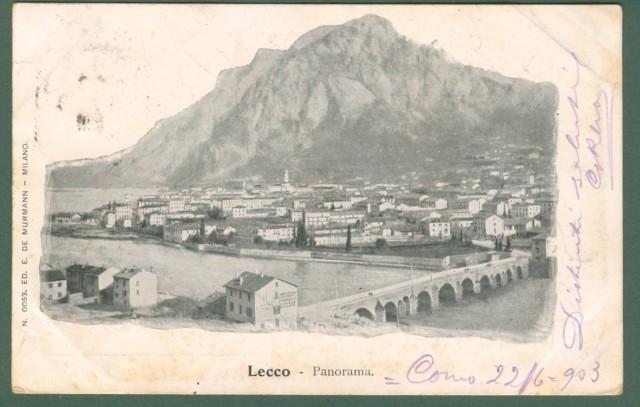 Lombardia. LECCO, panorama. Cartolina d'epoca viaggiata nel 1903