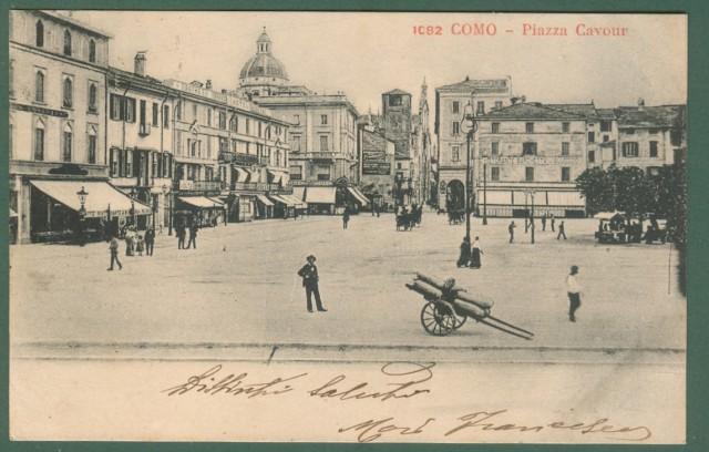 Lombardia. COMO. Piazza Cavour. Cartolina d'epoca viaggiata nel 1904