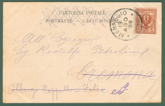 Lombardia. NOBIALLO, Lago di Como. Cartolina d'epoca viaggiata nel 1903.
