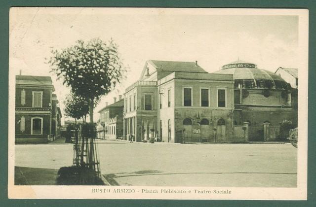 Lombardia. BUSTO ARSIZIO, Varese. Piazza Plebiscito. Cartolina d'epoca viaggiata nel 1930