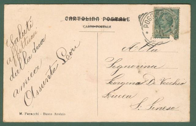 Lombardia. BUSTO ARSIZIO, Varese.  Nuova chiesa in costruzione del S. Cuore. Cartolina d'epoca viaggiata nel 1911.