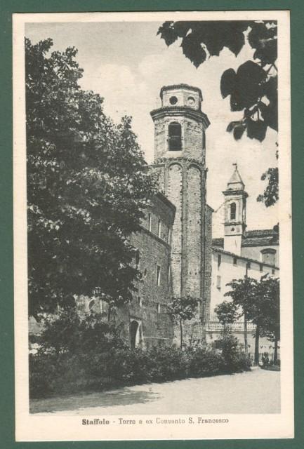 Marche. STAFFOLO, Ancona. Torre e ex convento S. Francesco. Cartolina d'epoca viaggiata nel 1948.