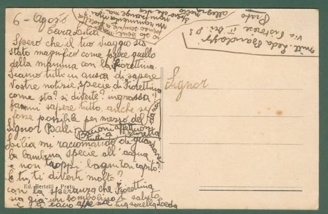 Toscana. PRATO. Via Ricasoli. Cartolina d'epoca viaggiata in busta, circa 1940