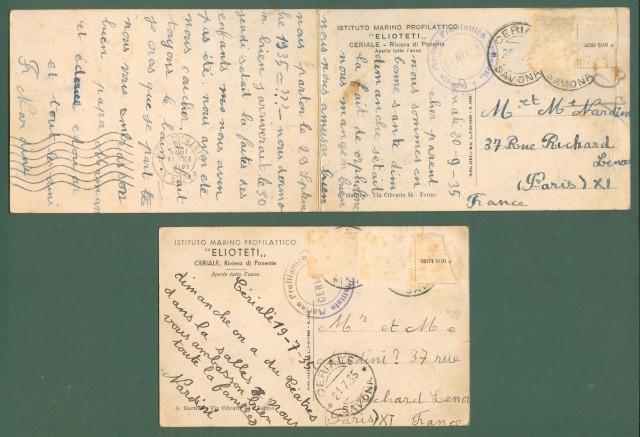 Liguria. CERIALE, Savona. Istituto Marino Elioteti. Due cartoline d'epoca (una doppia) viaggiate nel 1935