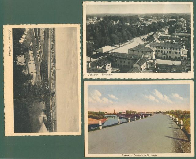 Friuli. LATISANA, Udine. Tre cartoline d'epoca formato grande viaggiate nel 1939