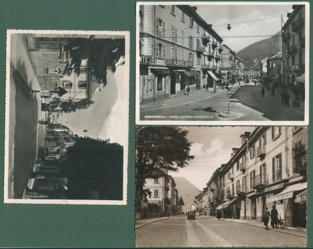 Piemonte. DOMODOSSOLA, Novara. Tre cartoline d'epoca formato grande, viaggiate nel 1942