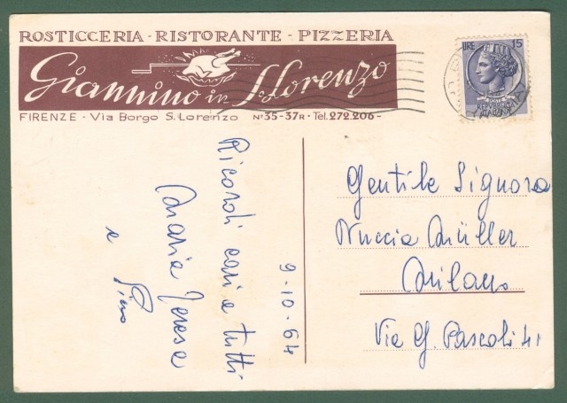 RISTORANTE GIANNINO, Firenze. Cartolina d'epoca viaggiata nel 1964, formato grande