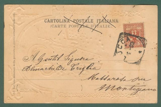SAN GIUSEPPE. Cartolina d'epoca a colori a rilievo, viaggiata nel 1903.