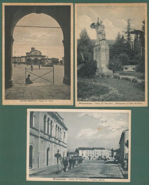Toscana. MONSUMMANO, Pistoia. Tre cartoline d'epoca formato grande