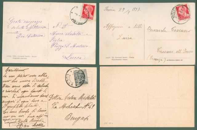 Toscana. PESCIA. Quattro cartoline d'epoca, tre viaggiate tra il 1928 e il 1937