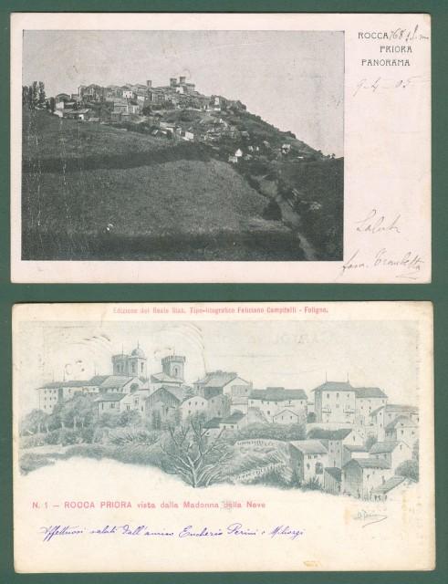 Lazio. ROCCA PRIORA, Roma. Due cartoline d'epoca viaggiate 1902 e 1905.
