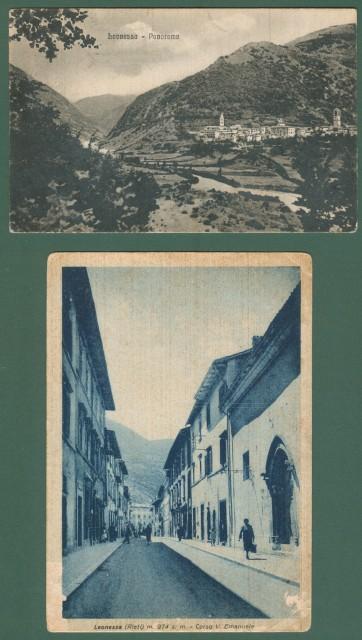 Lazio. LEONESSA, Rieti. Due cartoline d'epoca viaggiate nel 1942 e 1959, ma precedenti