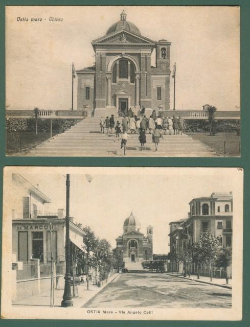 Lazio. OSTIA MARE, Roma. Due cartoline d'epoca viaggiate nel 1932 e 1933