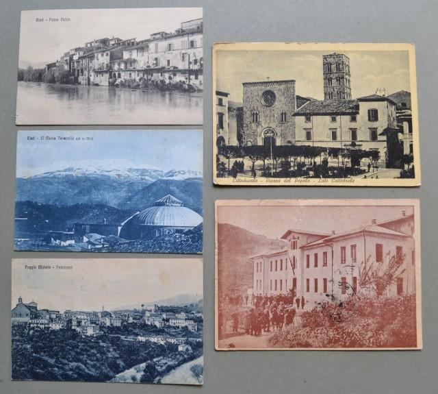 Lazio. RIETI. Cinque cartoline d'epoca, di cui 4  viaggiate tra il 1915 e il 1953
