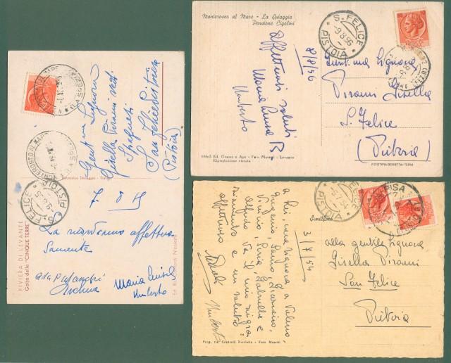 Liguria. MONTEROSSO AL MARE, La Spezia. Cinque terre. Tre cartoline d'epoca viaggiate tra il 1954 e il 1956.