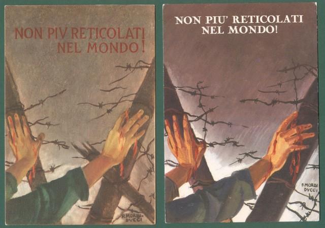 MORBIDUCCI PUBLIO. NON RETICOLATI NEL MONDO Due cartoline d'epoca disegnate per l'Associazione Nazionale Ex Internati.!