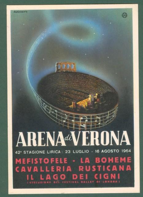 RUZZENENTE. Cartolina d'epoca pubblicitaria ARENA VERONA stagione lirica 1964. Bollo speciale