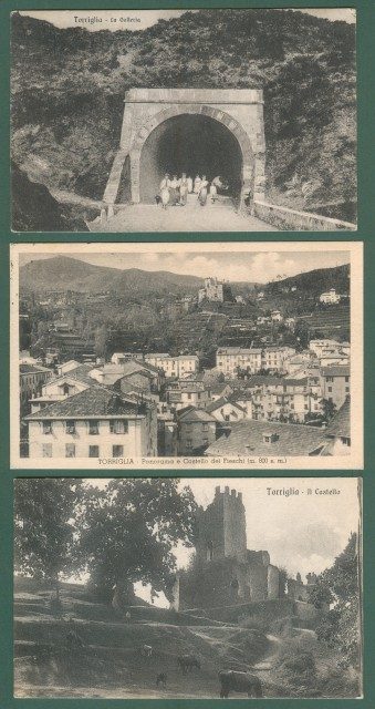 Liguria. TORRIGLIA, Genova. Tre cartoline d'epoca (due viaggiate nel 1924 e 1935).