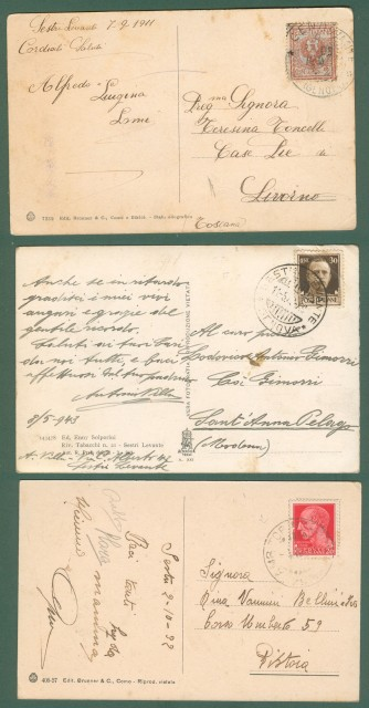Liguria. SESTRI LEVANTE, Genova. Tre cartoline d'epoca viaggiate tra il 1911 e il 1943