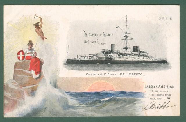 LEGA NAVALE SPEZIA. Corazzata Re Umberto. Cartolina d'epoca viaggiata nel 1900.
