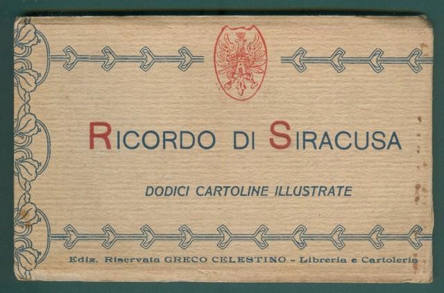 SIRACUSA. Dodici cartoline d'epoca illustrate contenute in libretto. Edizioni Greco. Circa 1925