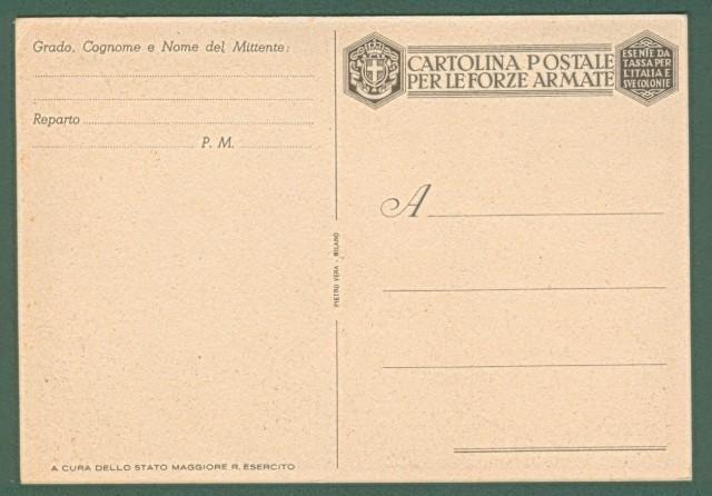 FRANCHIGIA MILITARE SECONDA GUERRA. Cartolina d'epoca non viaggiata.