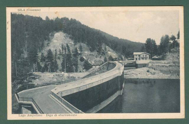 Calabria. COSENZA, Sila. Lago Ampollino, Diga di sbarramento. Cartolina d'epoca viaggiata nel 1933