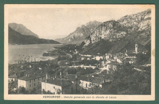Lombardia. VERCURAGO, Bergamo. Panorama. Cartolina d'epoca viaggiata nel 1941.