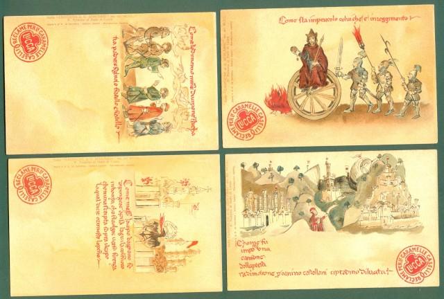 CARAMELLE CASELLI di Lucca. Quattro cartoline d'epoca disegnate a colori raffiguranti scene tratte dalle Cronache di Sercambi del 1300.