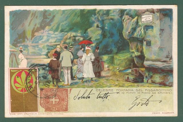 CHIATTONE GABRIELE. Fontana del Pissarottino presso Brunate (Como). Cartolina d'epoca viaggiata il 20.08.1900