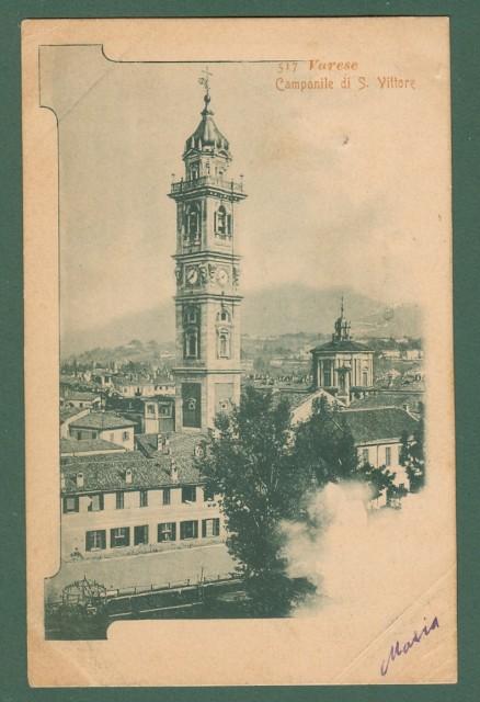 Lombardia. VARESE. Campanile di S. Vittore. Cartolina d'epoca viaggiata nel 1901.
