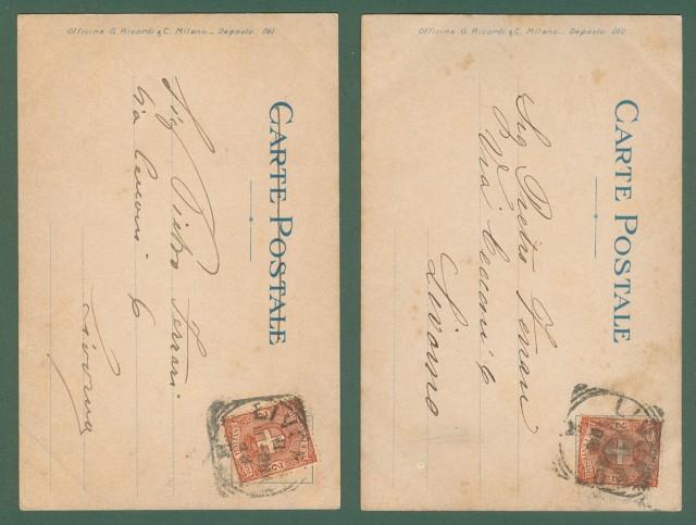 METLICOVITZ LEOPOLDO. Tosca di Puccini. Due cartoline d'epoca viaggiate nel 1900.