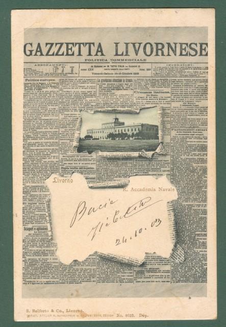 GAZZETTA LIVORNESE. Livorno. Cartolina d'epoca viaggiata nel 1903.