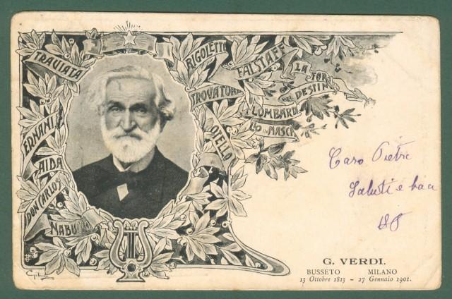 VERDI. Cartolina d'epoca viaggiata nel 1902.
