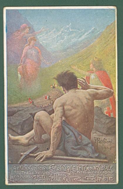 PACCHIONI E.. Esposizione Internazionale di Milano 1906. Cartolina d'epoca viaggiata nel 1906.
