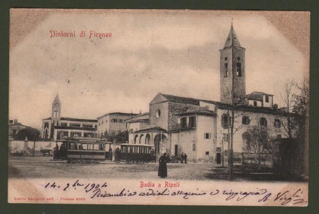 BADIA A RIPOLI (Firenze). La piazza con tram e persone. Cartolina d'epoca viaggiata nel 1904.