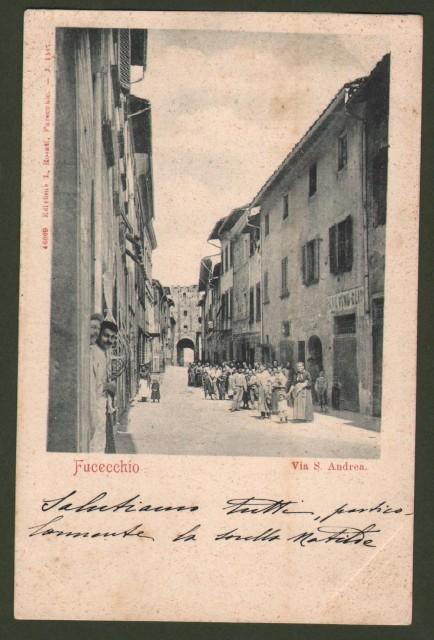 FUCECCHIO (Firenze). Via S. Andrea animata da gruppo di persone. Cartolina d'epoca viaggiata nel 1903.