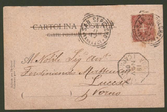 SANSEPOLCRO (Arezzo). Piazza e Duomo. Cartolina d'epoca viaggiata nel 1900.