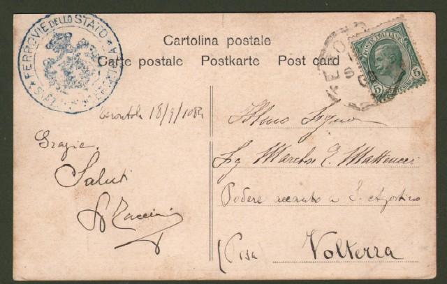 TERONTOLA (Arezzo). Stazione ferroviaria. Cartolina d'epoca viaggiata nel 1906.