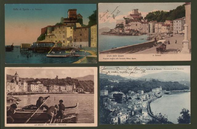 LA SPEZIA - S. TERENZO. Panorama. Quattro cartoline viaggiate tra il 1904 e il 1938.