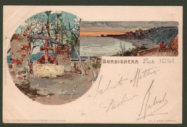 BORDIGHERA, Imperia. Cartolina d'epoca viaggiata nel 1905