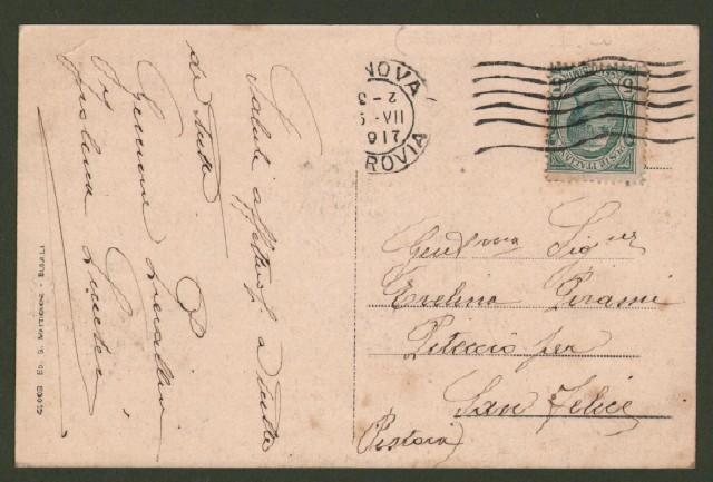 RONCO SCRIVIA, Genova. Viale della Stazione. Cartolina d'epoca viaggiata nel 1917.
