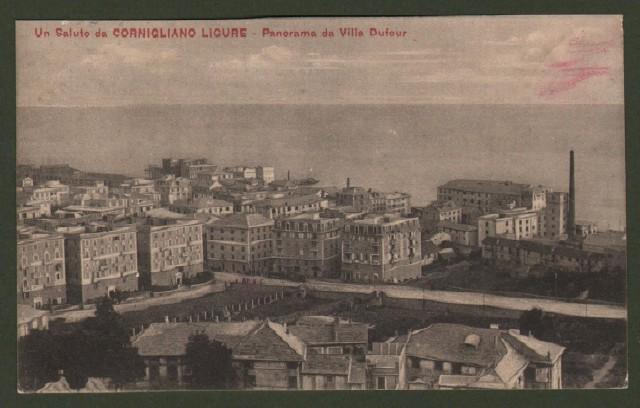 CORNIGLIANO LIGURE, Genova. Panorama. Cartolina d'epoca viaggiata nel 1912.