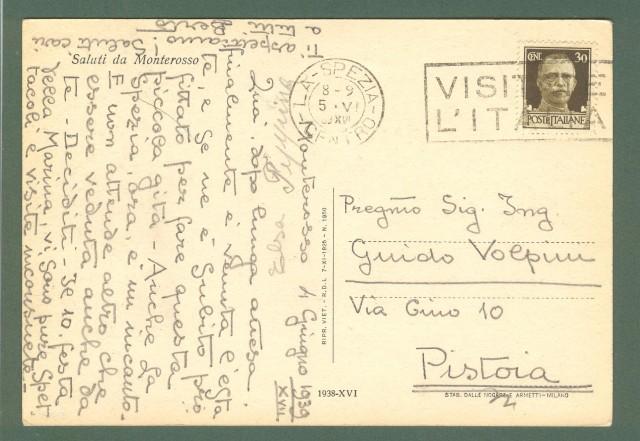 Liguria. MONTEMOSSO, Spezia. Cartolina d'epoca viaggiata nel 1939.
