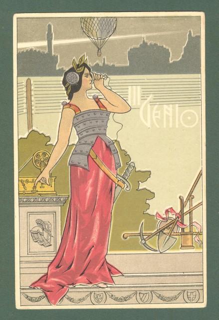 III GENIO. Cartolina d'epoca reggimentale a colori. Non viaggiata, inizio 1900.