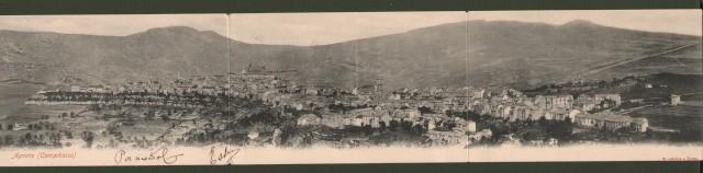 Molise. AGNONE, Campobasso. Veduta generale. Cartolina d'epoca tripla, viaggiata entro busta, inizio 1900