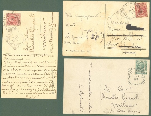 Piemonte. ORTA, ISOLA S. GIULIO, Novara. Tre cartoline d'epoca viaggiate nel 1908 - 1910.