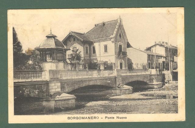 Piemonte. BORGOMANERO, Novara. Ponte Nuovo. Cartolina d'epoca viaggiata nel 1926.